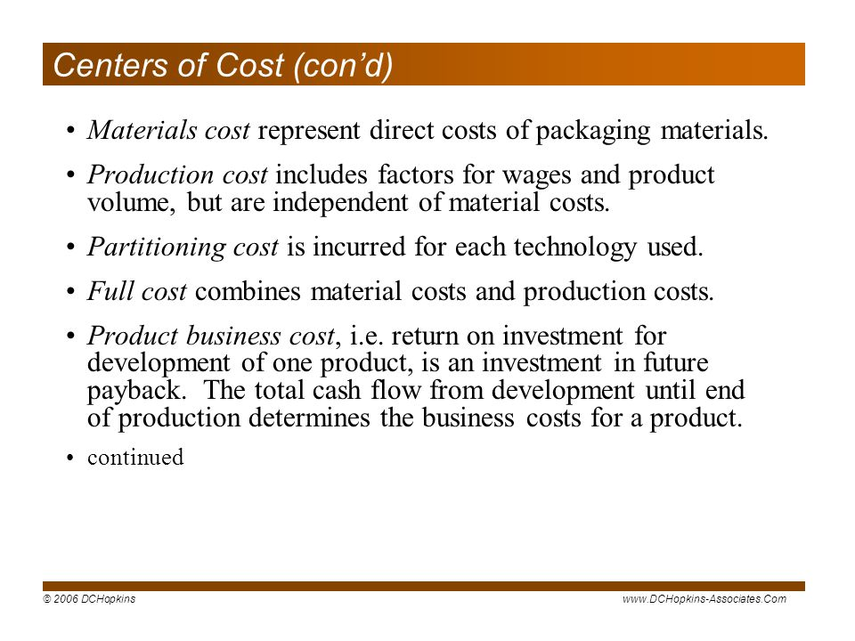 © 2006 DCHopkinswww.DCHopkins-Associates.Com Centers of Cost (cond) Materials cost represent direct costs of packaging materials.