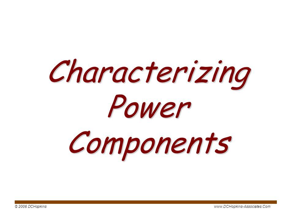 © 2006 DCHopkinswww.DCHopkins-Associates.Com Characterizing Power Components
