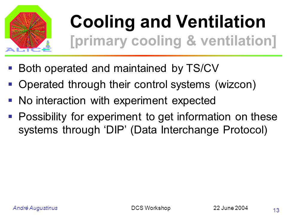 André Augustinus 22 June 2004DCS Workshop 13 Cooling and Ventilation [primary cooling & ventilation] Both operated and maintained by TS/CV Operated through their control systems (wizcon) No interaction with experiment expected Possibility for experiment to get information on these systems through DIP (Data Interchange Protocol)