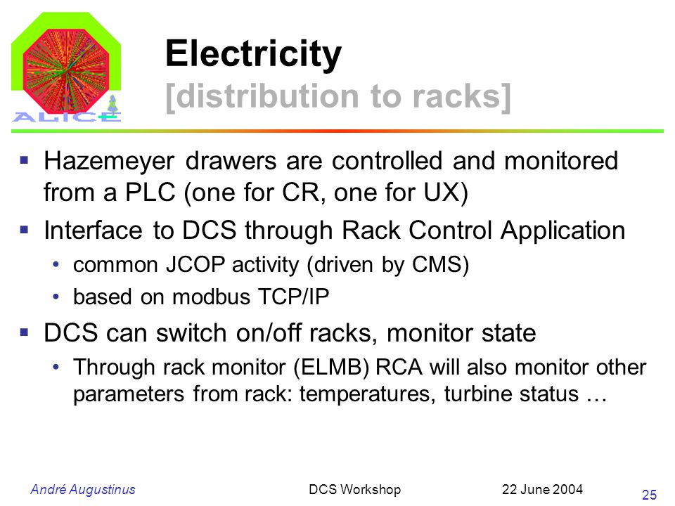 André Augustinus 22 June 2004DCS Workshop 25 Electricity [distribution to racks] Hazemeyer drawers are controlled and monitored from a PLC (one for CR, one for UX) Interface to DCS through Rack Control Application common JCOP activity (driven by CMS) based on modbus TCP/IP DCS can switch on/off racks, monitor state Through rack monitor (ELMB) RCA will also monitor other parameters from rack: temperatures, turbine status …