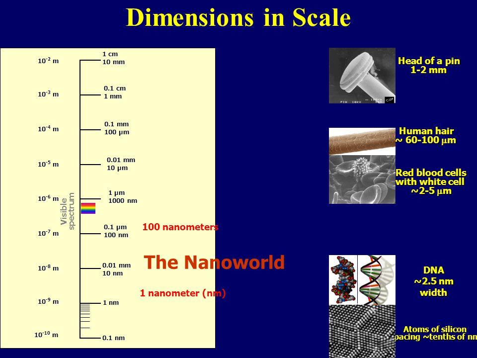 Dimensions in Scale 0.1 nm 0.01 mm 10 nm 0.1 μm 100 nm 0.01 mm 10 μm 0.1 mm 100 μm 1 cm 10 mm 10 -2 m 10 -3 m 10 -4 m 10 -5 m 10 -6 m 10 -7 m 10 -8 m