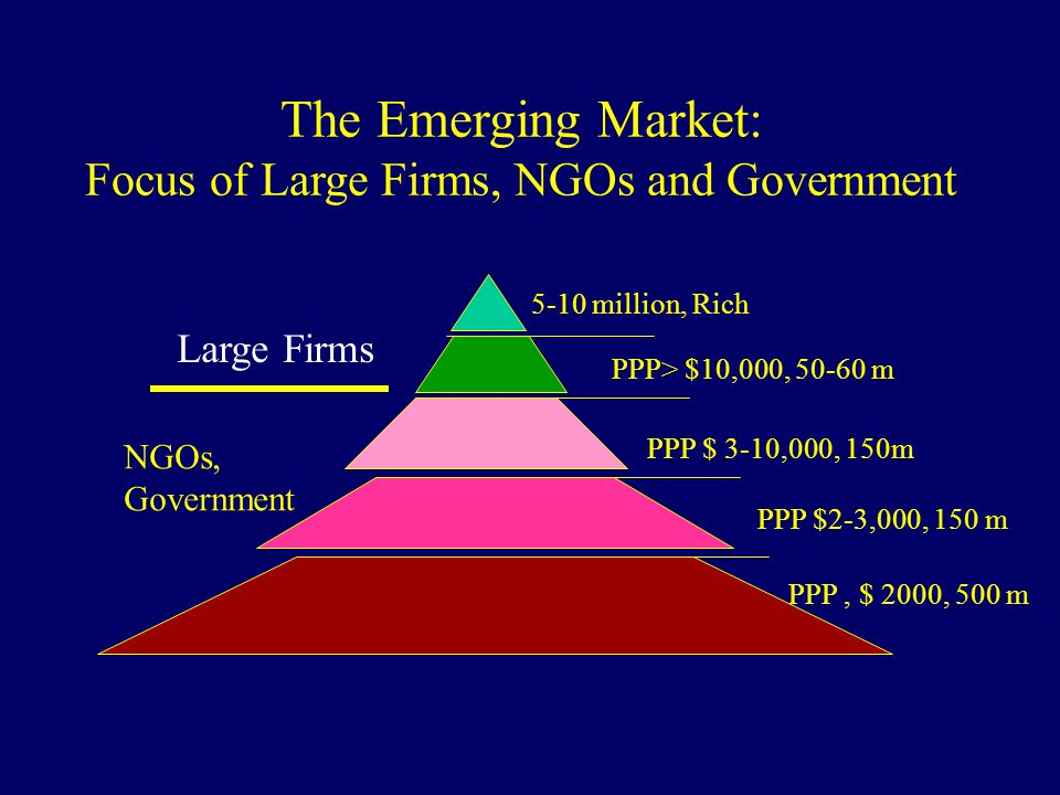 The Emerging Market: Focus of Large Firms, NGOs and Government 5-10 million, Rich PPP> $10,000, 50-60 m PPP $ 3-10,000, 150m PPP $2-3,000, 150 m PPP,