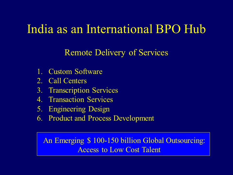 India as an International BPO Hub Remote Delivery of Services 1.Custom Software 2.Call Centers 3.Transcription Services 4.Transaction Services 5.Engin