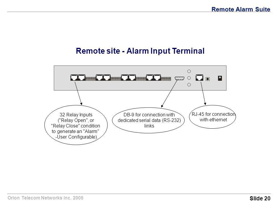 Orion Telecom Networks Inc. 2005 Remote site - Alarm Input Terminal 32 Relay Inputs (