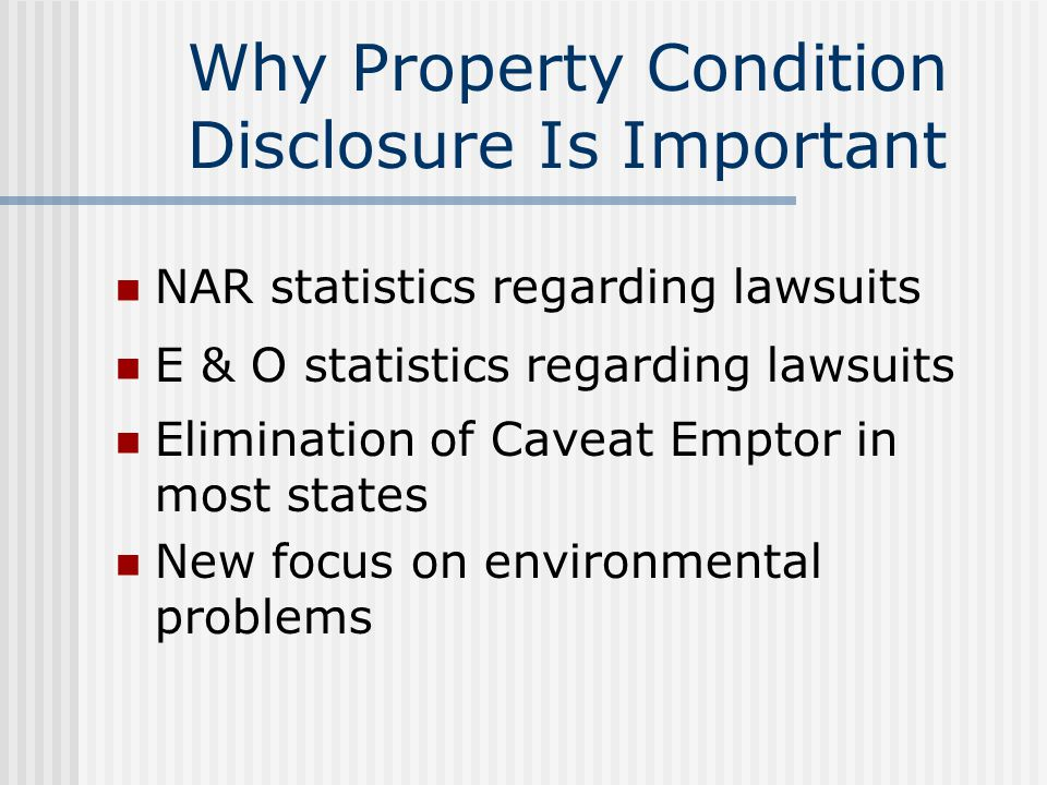 Introduction To Property Disclosure