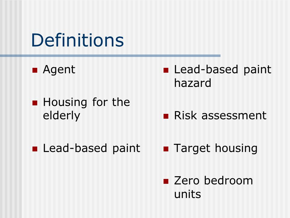 Summary of Housing Not Covered Housing built after 1977 Zero bedroom units Housing for the elderly or persons with disabilities Leases for less than 100 days Foreclosure sales Rental housing certified as lead-free