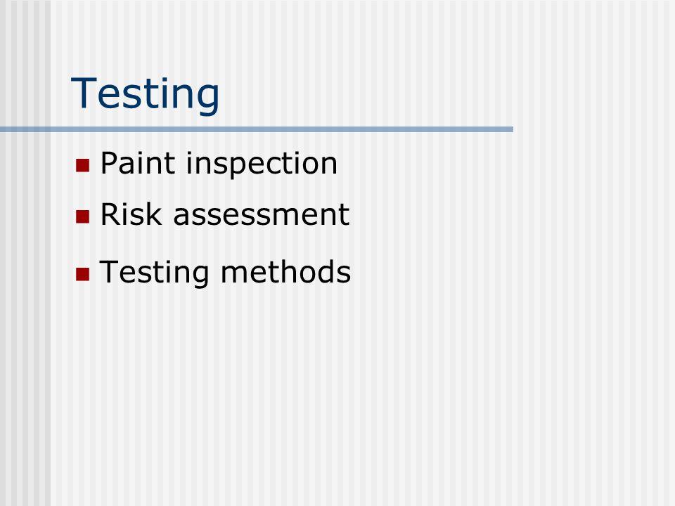 Testing Paint inspection Risk assessment Testing methods