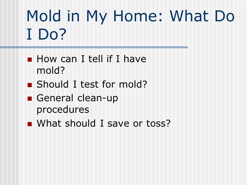 Removing Mold Proper equipment Shut down systems Minimize spreading of spores Remove visible mold Disinfect surface