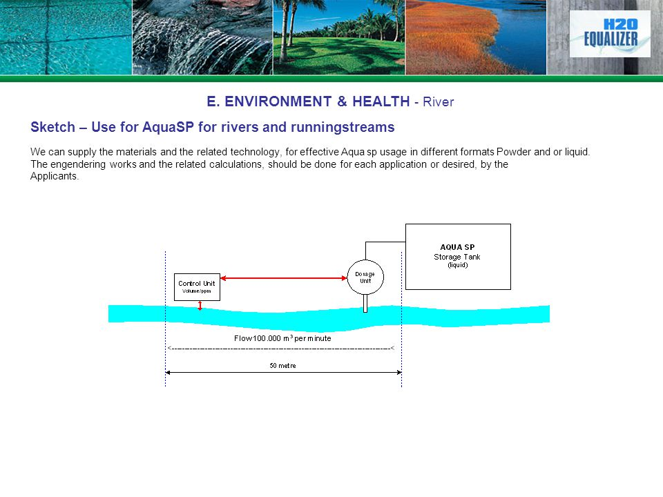 E. ENVIRONMENT & HEALTH - River Sketch – Use for AquaSP for rivers and runningstreams We can supply the materials and the related technology, for effe