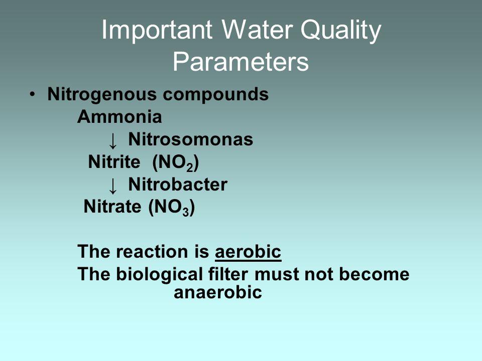 Important Water Quality Parameters Nitrogenous compounds Ammonia Nitrosomonas Nitrite (NO 2 ) Nitrobacter Nitrate (NO 3 ) The reaction is aerobic The