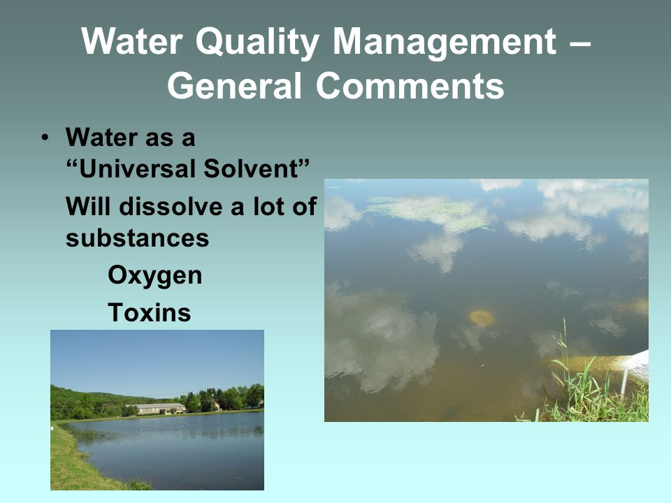 Water Quality Management – General Comments Water as a Universal Solvent Will dissolve a lot of substances Oxygen Toxins