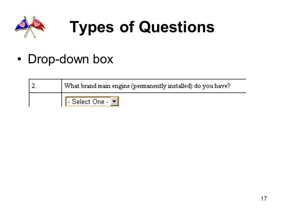 17 Types of Questions Drop-down box