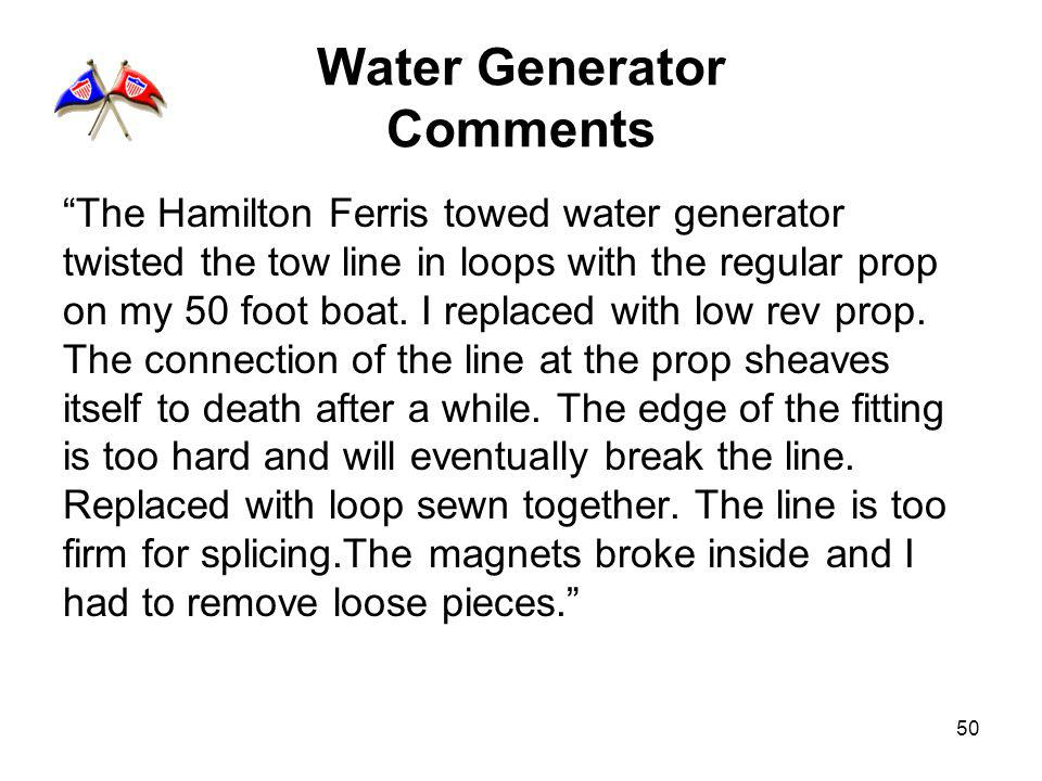 50 Water Generator Comments The Hamilton Ferris towed water generator twisted the tow line in loops with the regular prop on my 50 foot boat. I replac