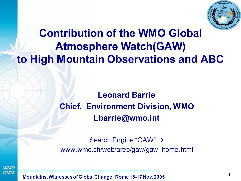 1 Mountains, Witnesses of Global Change Rome 16-17 Nov.