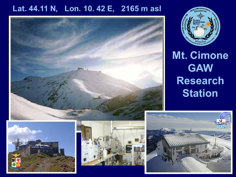Mt. Cimone GAW Research Station Lat. 44.11 N, Lon. 10. 42 E, 2165 m asl