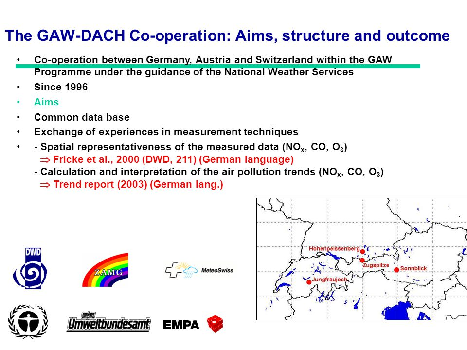 The GAW-DACH Co-operation: Aims, structure and outcome Co-operation between Germany, Austria and Switzerland within the GAW Programme under the guidance of the National Weather Services Since 1996 Aims Common data base Exchange of experiences in measurement techniques - Spatial representativeness of the measured data (NO x, CO, O 3 ) Fricke et al., 2000 (DWD, 211) (German language) - Calculation and interpretation of the air pollution trends (NO x, CO, O 3 ) Trend report (2003) (German lang.)