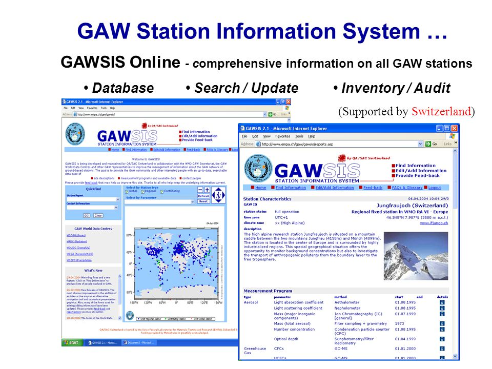 GAW Station Information System … GAWSIS Online - comprehensive information on all GAW stations Database Search / Update Inventory / Audit (Supported b