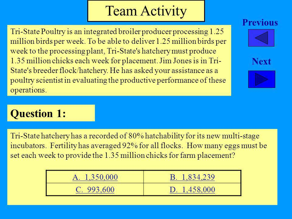 Team Activity Question 1: Tri-State Poultry is an integrated broiler producer processing 1.25 million birds per week.
