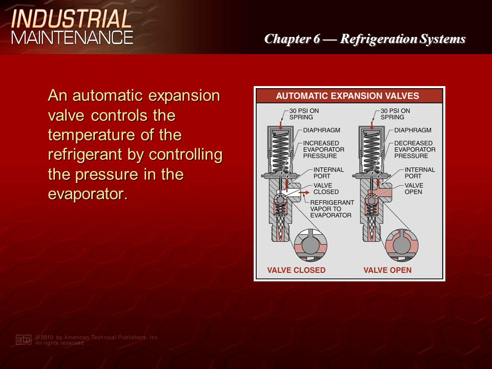 Chapter 6 Refrigeration Systems The opening and closing of a thermostatic expansion valve is controlled by the pressure in the remote bulb.