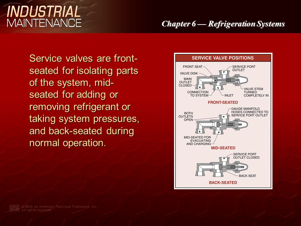 Chapter 6 Refrigeration Systems Gauge manifolds are used to take pressure readings, add or remove refrigerant, and remove air from a system before it