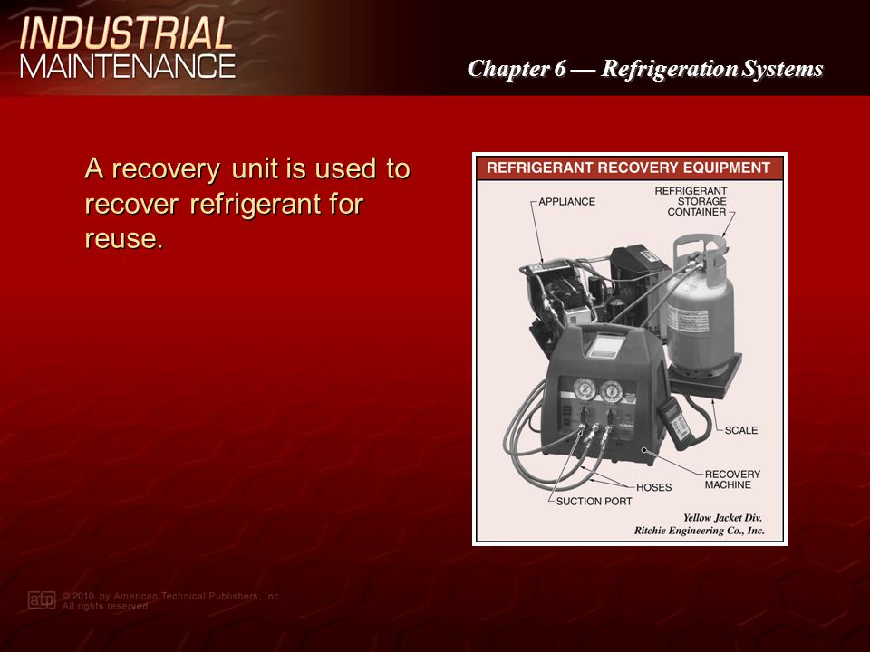 Chapter 6 Refrigeration Systems The EPA has established regulations under Section 608 of the Clean Air Act to regulate the handling of ozone-depleting substances.