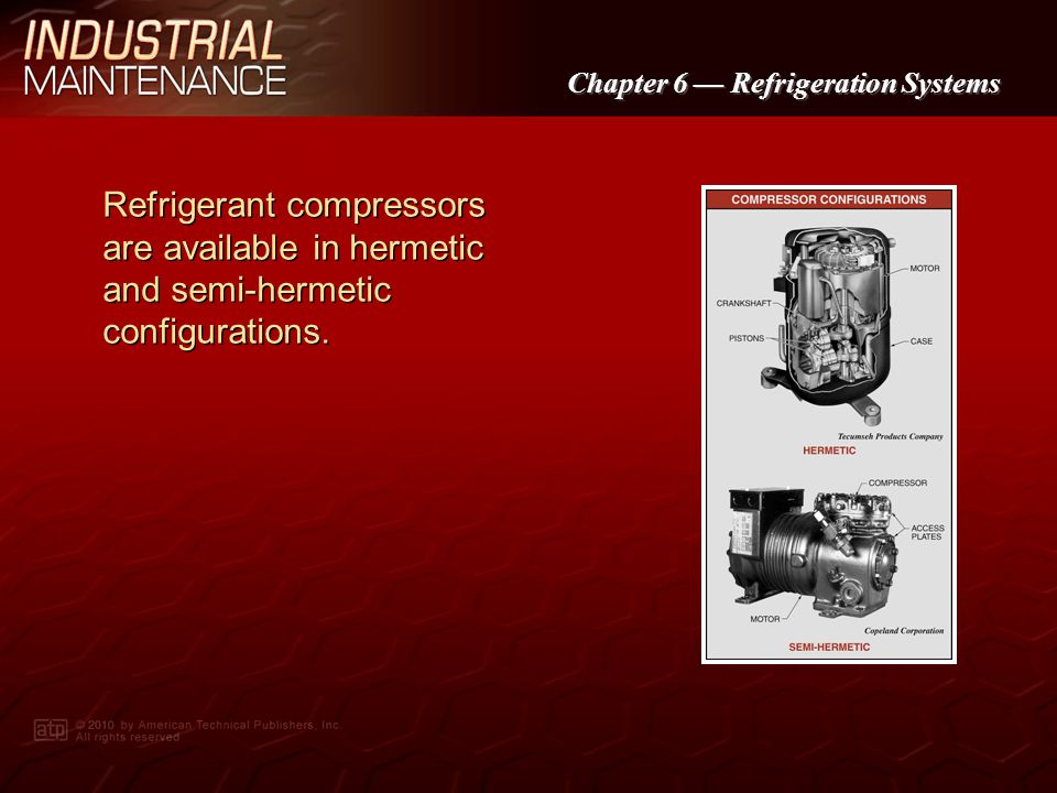 Chapter 6 Refrigeration Systems Refrigeration compressors include reciprocating, vane, centrifugal, and screw compressors.