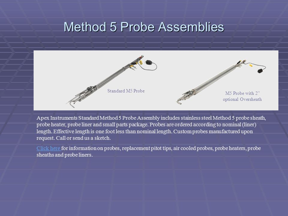 Method 5 Probe Assemblies Apex Instruments Standard Method 5 Probe Assembly includes stainless steel Method 5 probe sheath, probe heater, probe liner