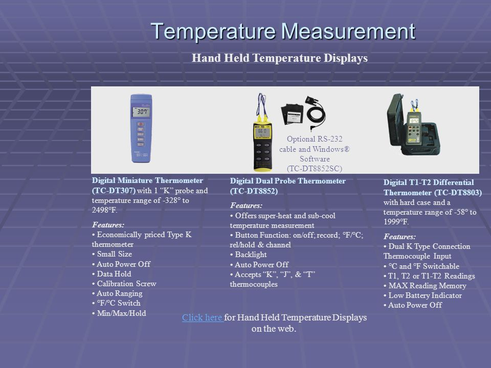 Temperature Measurement Hand Held Temperature Displays Digital Miniature Thermometer (TC-DT307) with 1 K probe and temperature range of -328° to 2498°