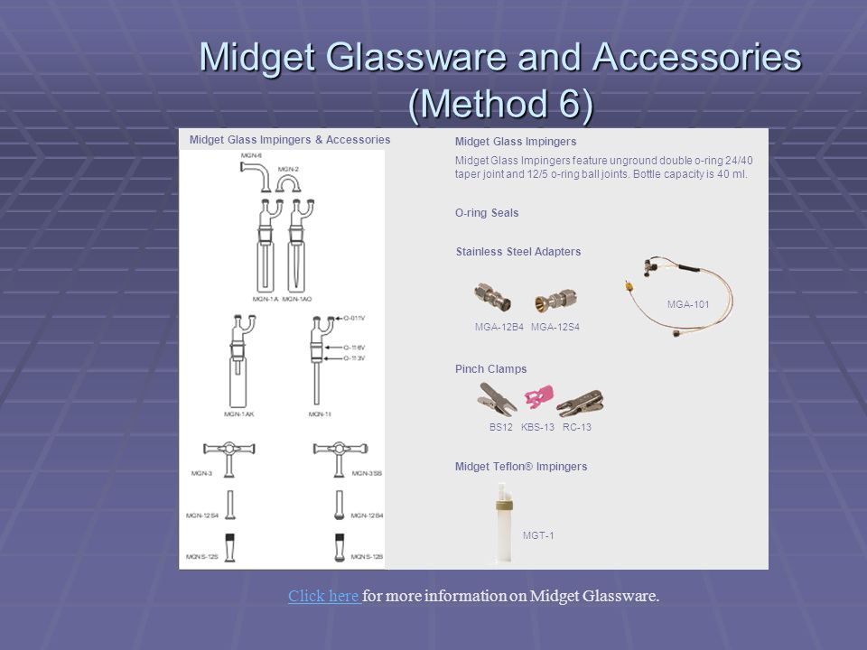 Midget Glassware and Accessories (Method 6) Midget Glass Impingers Midget Glass Impingers feature unground double o-ring 24/40 taper joint and 12/5 o-