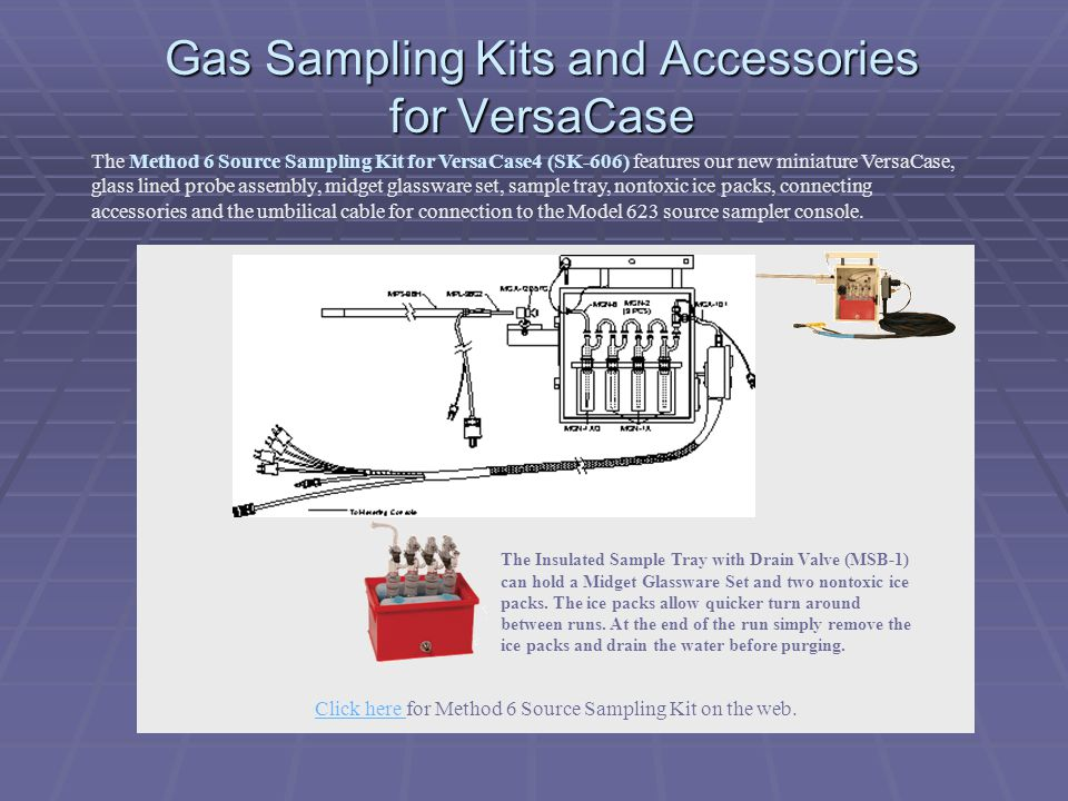 Gas Sampling Kits and Accessories for VersaCase The Method 6 Source Sampling Kit for VersaCase4 (SK-606) features our new miniature VersaCase, glass l