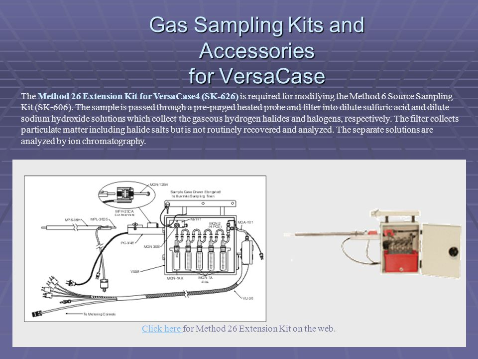 Gas Sampling Kits and Accessories for VersaCase The Method 26 Extension Kit for VersaCase4 (SK-626) is required for modifying the Method 6 Source Samp