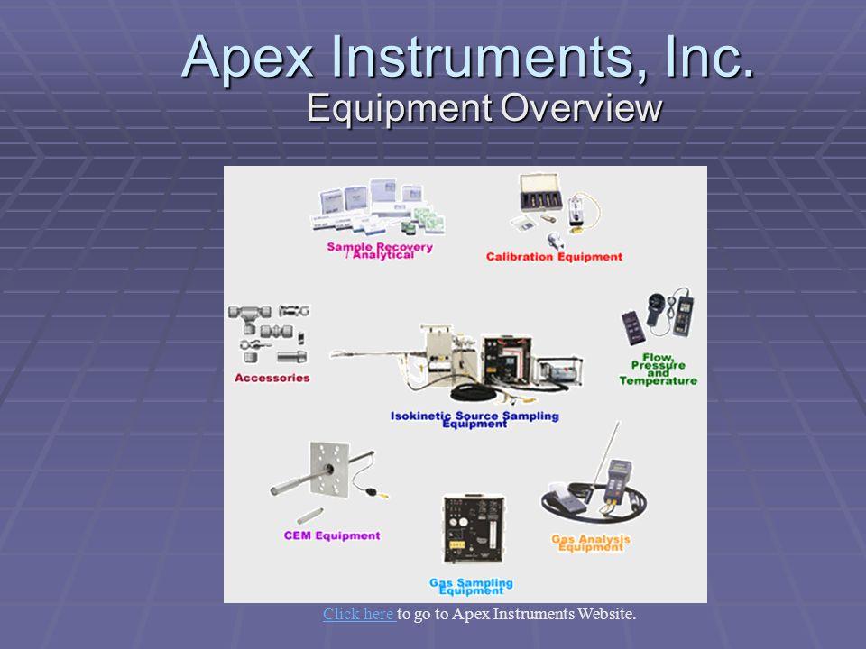 Apex Instruments, Inc. Equipment Overview Click here Click here to go to Apex Instruments Website.