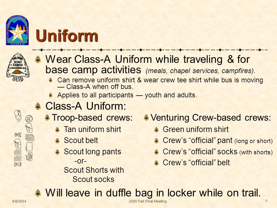 622-N / 704-L 6/8/20042005 Trek Final Meeting7 Uniform Wear Class-A Uniform while traveling & for base camp activities (meals, chapel services, campfires).