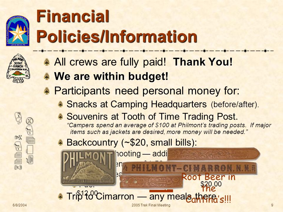 622-N / 704-L 6/8/20042005 Trek Final Meeting9 Financial Policies/Information Thank You.