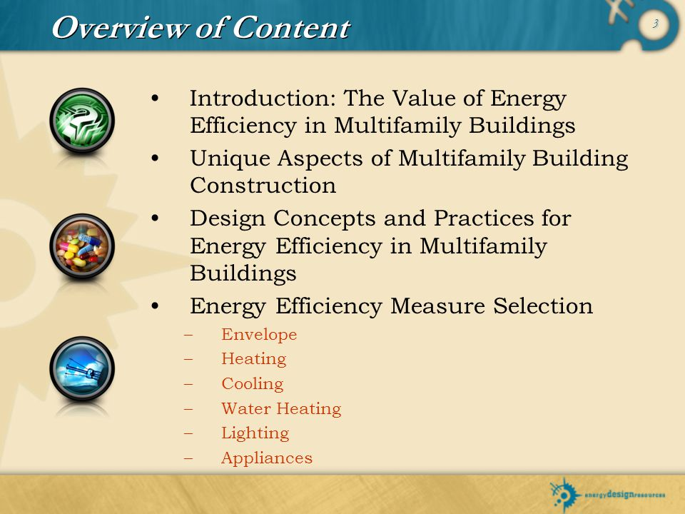 3 Overview of Content Introduction: The Value of Energy Efficiency in Multifamily Buildings Unique Aspects of Multifamily Building Construction Design