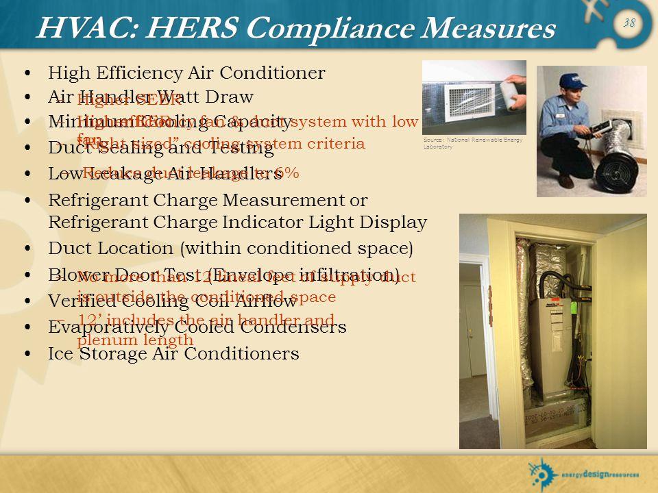 38 High Efficiency Air Conditioner Air Handler Watt Draw Minimum Cooling Capacity Duct Sealing and Testing Low Leakage Air Handlers Refrigerant Charge