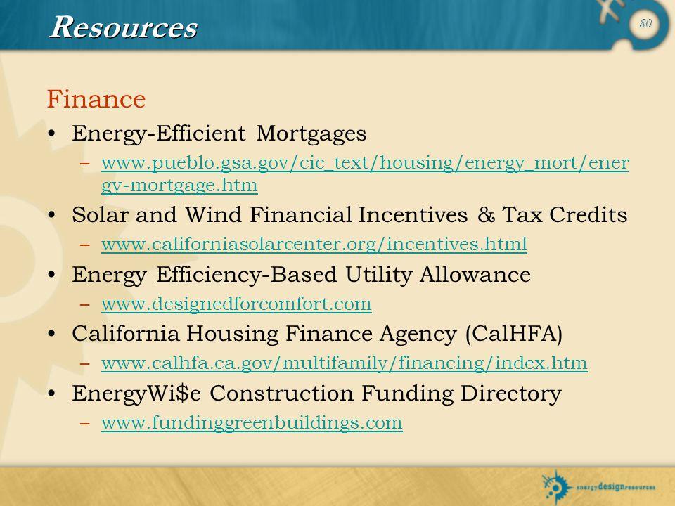 80 Resources Finance Energy-Efficient Mortgages –www.pueblo.gsa.gov/cic_text/housing/energy_mort/ener gy-mortgage.htmwww.pueblo.gsa.gov/cic_text/housi