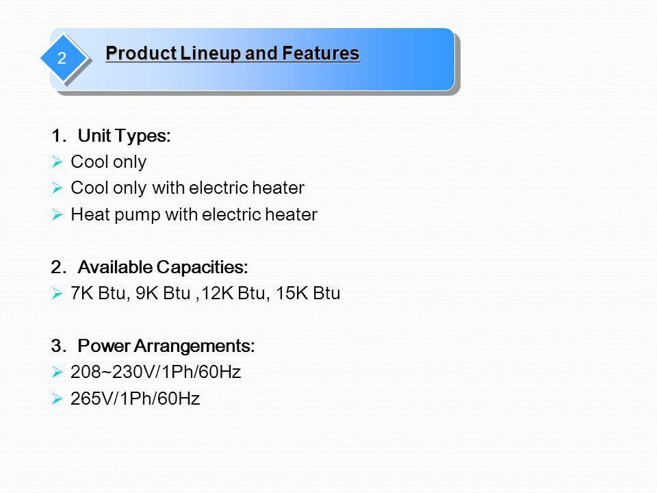 1. Unit Types: Cool only Cool only with electric heater Heat pump with electric heater 2. Available Capacities: 7K Btu, 9K Btu,12K Btu, 15K Btu 3. Pow