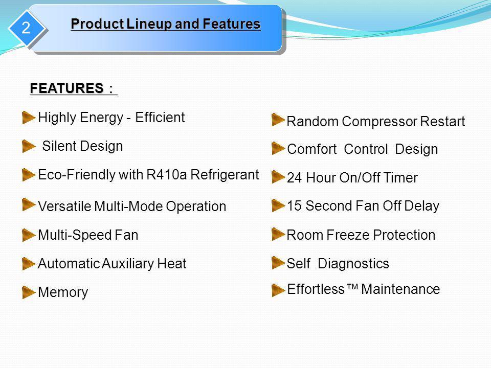 2 FEATURES FEATURES 15 Second Fan Off Delay Random Compressor Restart Comfort Control Design Room Freeze Protection Self Diagnostics Effortless Mainte