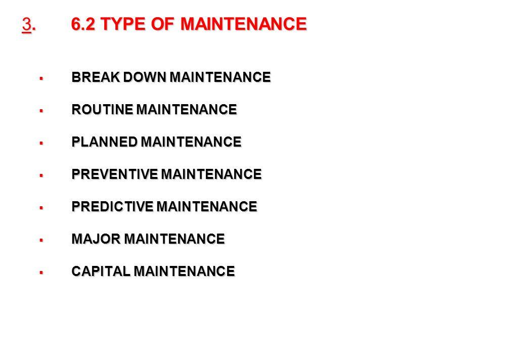 25 3. 6.2 TYPE OF MAINTENANCE BREAK DOWN MAINTENANCE BREAK DOWN MAINTENANCE ROUTINE MAINTENANCE ROUTINE MAINTENANCE PLANNED MAINTENANCE PLANNED MAINTE