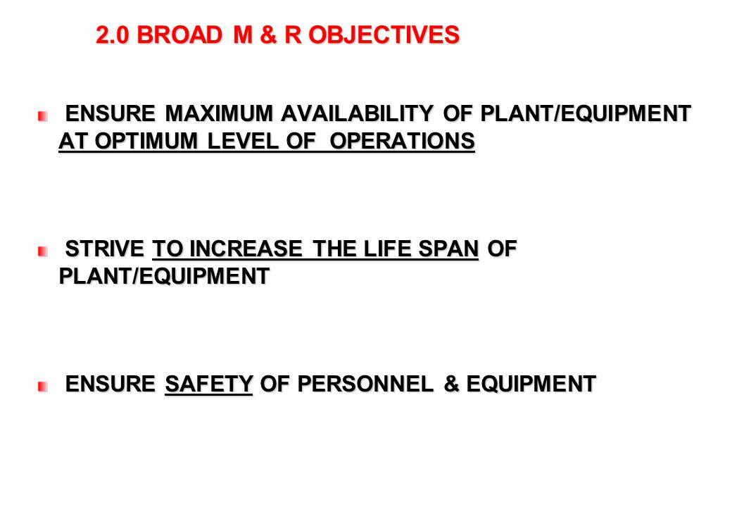 3 2.0 BROAD M & R OBJECTIVES ENSURE MAXIMUM AVAILABILITY OF PLANT/EQUIPMENT AT OPTIMUM LEVEL OF OPERATIONS ENSURE MAXIMUM AVAILABILITY OF PLANT/EQUIPM