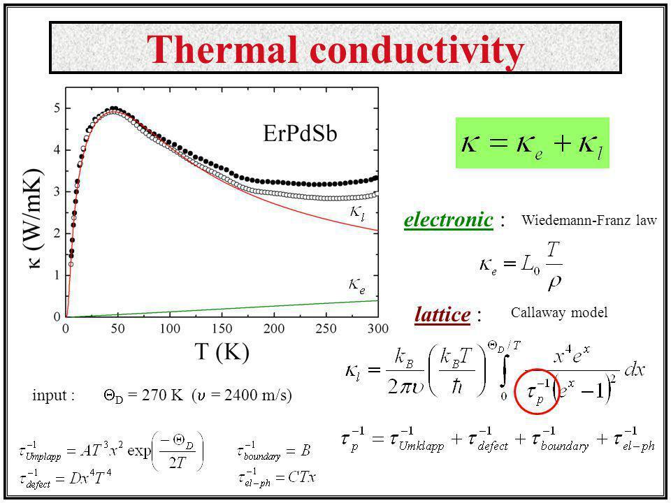 Thermal conductivity electronic : Wiedemann-Franz law lattice : Callaway model input : D = 270 K ( = 2400 m/s)