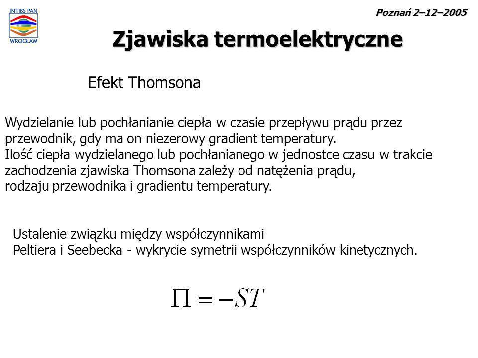 Zjawiska termoelektryczne Efekt Thomsona Wydzielanie lub pochłanianie ciepła w czasie przepływu prądu przez przewodnik, gdy ma on niezerowy gradient t