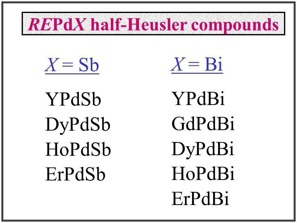 X = Sb YPdSb DyPdSb HoPdSb ErPdSb X = Bi YPdBi GdPdBi DyPdBi HoPdBi ErPdBi REPdX half-Heusler compounds