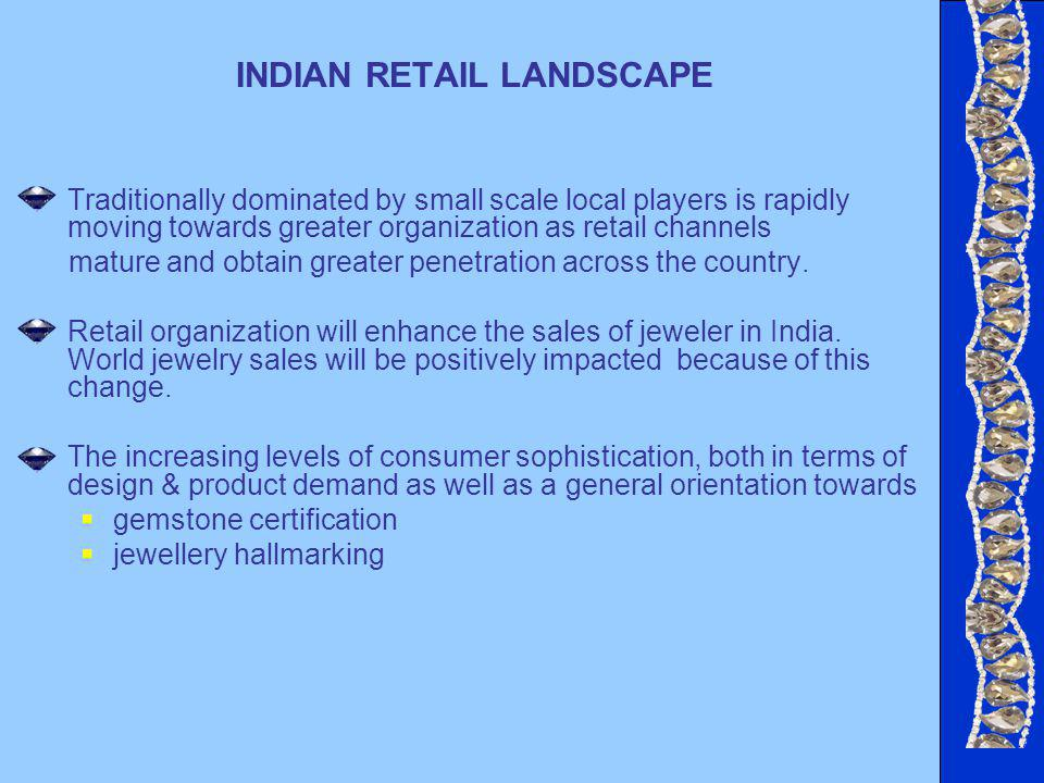 INDIAN RETAIL LANDSCAPE Traditionally dominated by small scale local players is rapidly moving towards greater organization as retail channels mature and obtain greater penetration across the country.