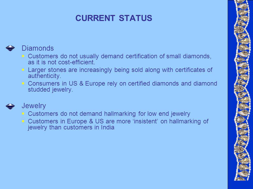 CURRENT STATUS Diamonds Customers do not usually demand certification of small diamonds, as it is not cost-efficient.