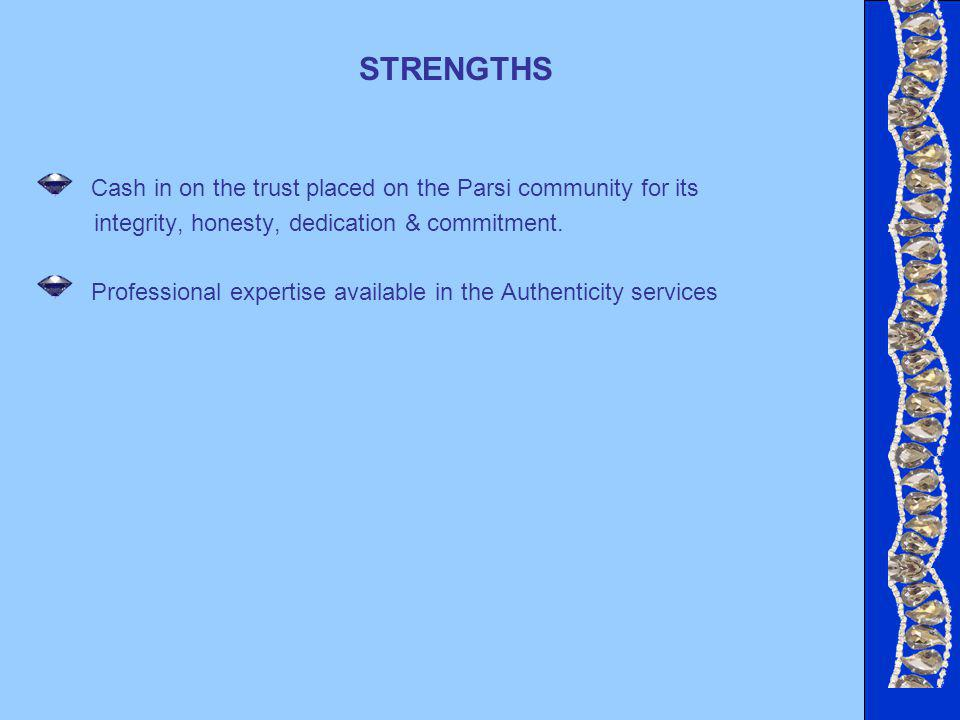 STRENGTHS Cash in on the trust placed on the Parsi community for its integrity, honesty, dedication & commitment.