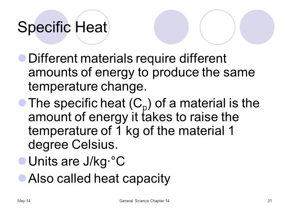 May-14General Science Chapter 1431 Specific Heat Different materials require different amounts of energy to produce the same temperature change. The s