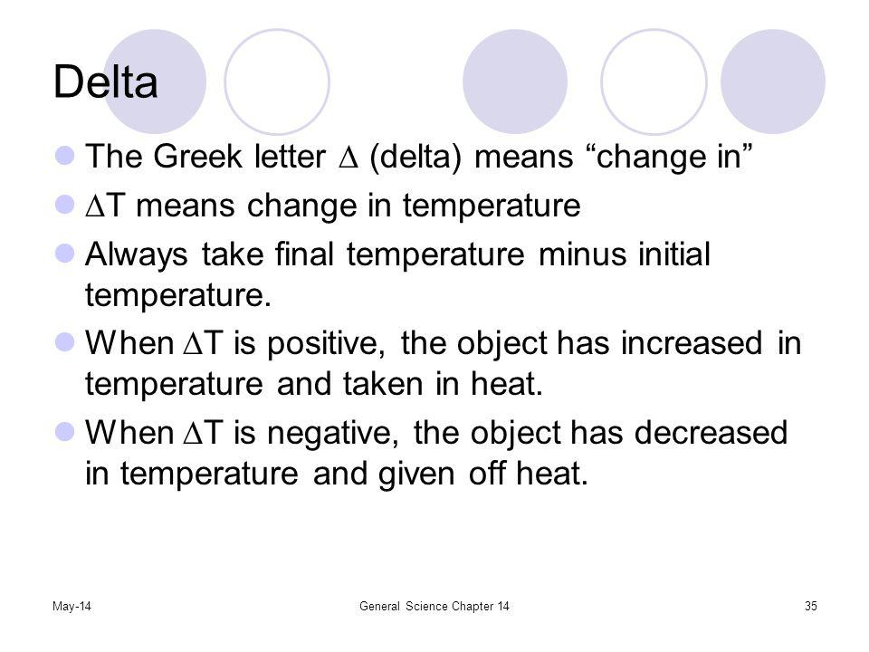May-14General Science Chapter 1435 Delta The Greek letter (delta) means change in T means change in temperature Always take final temperature minus in