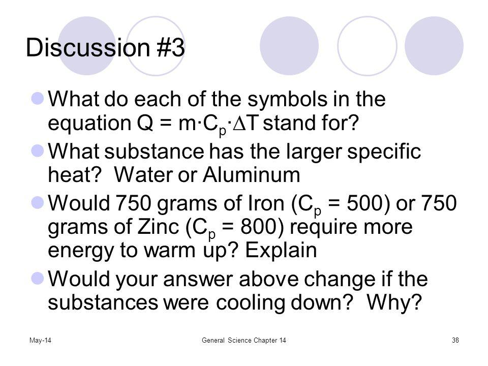 May-14General Science Chapter 1438 Discussion #3 What do each of the symbols in the equation Q = mC p T stand for? What substance has the larger speci